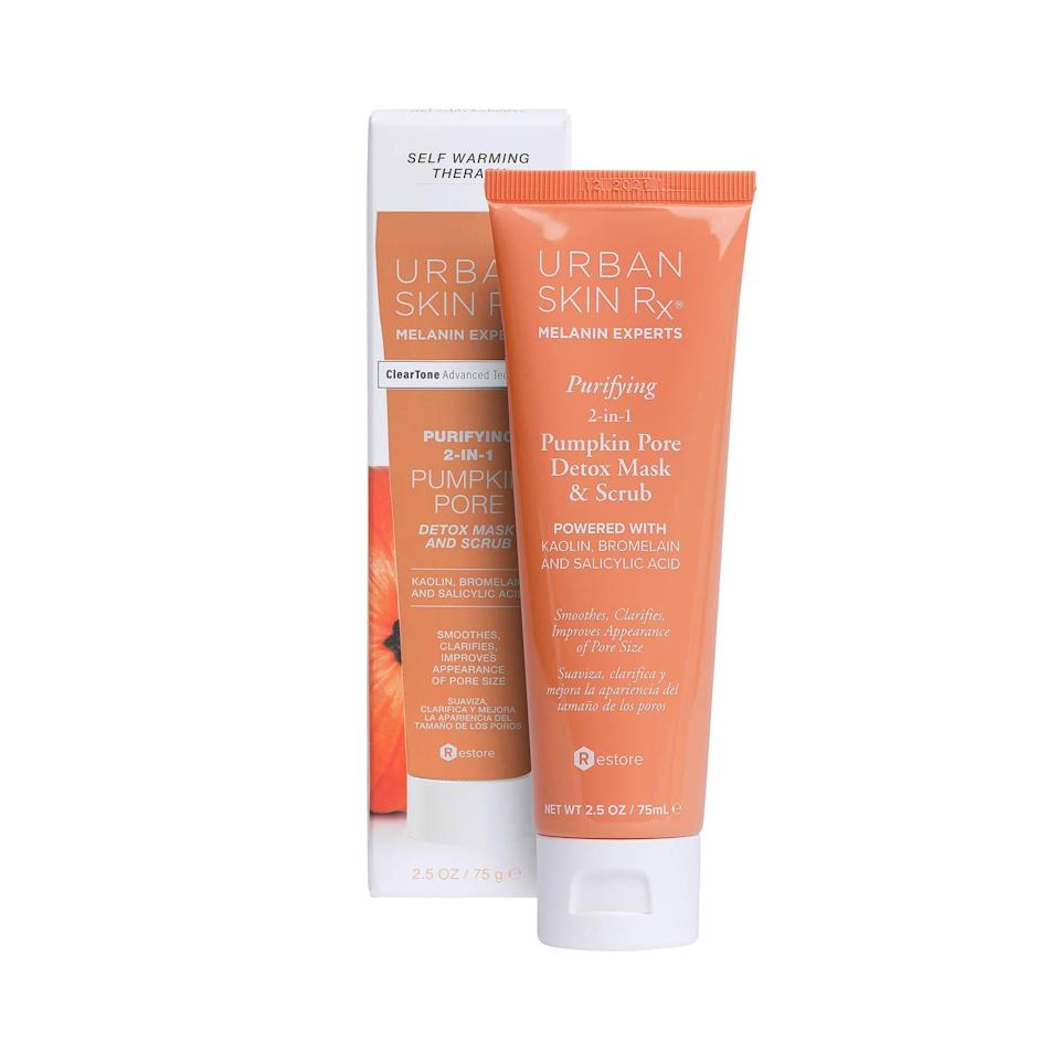 "<p>Dullness? What dullness? Use this self-warming, dual-action (and vegan) Urban Skin Rx Purifying Pumpkin Pore Detox Mask and Scrub to cleanse pores, absorb oil, and brighten skin in just one step.</p> <p><strong>$18</strong> (<a href=""https://shop-links.co/1719960579226717197"" rel=""nofollow noopener"" target=""_blank"" data-ylk=""slk:Shop Now"" class=""link rapid-noclick-resp"">Shop Now</a>)</p>"
