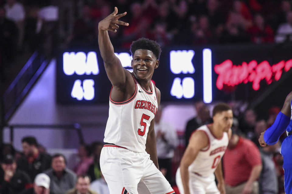 Jan 7, 2020; Athens, Georgia, USA; Georgia Bulldogs guard Anthony Edwards (5) reacts after a three point shot against the Kentucky Wildcats during the second half at Stegeman Coliseum. Mandatory Credit: Dale Zanine-USA TODAY Sports