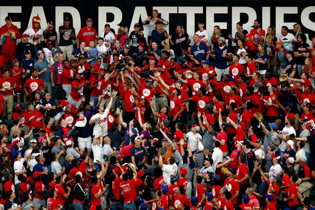 Fans try to catch home run balls during the T-Mobile Home Run Derby at Progressive Field on Monday, July 8, 2019 in Cleveland, Ohio. (Photo by Adam Glanzman/MLB Photos via Getty Images)