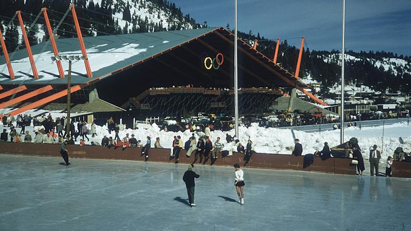 Figure skaters, pictured here on the rink at the 1960 Winter Olympics in Squaw Valley.