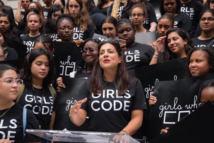 Girls Who Code CEO and Founder Reshma Saujani believes sisterhood means having each other's backs in this fight.