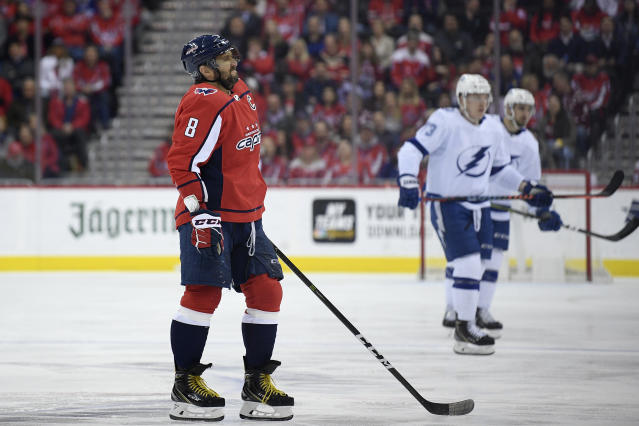 Washington Capitals left wing Alex Ovechkin (8), of Russia, reacts during the first period of an NHL hockey game against the Tampa Bay Lightning, Wednesday, March 20, 2019, in Washington. (AP Photo/Nick Wass)