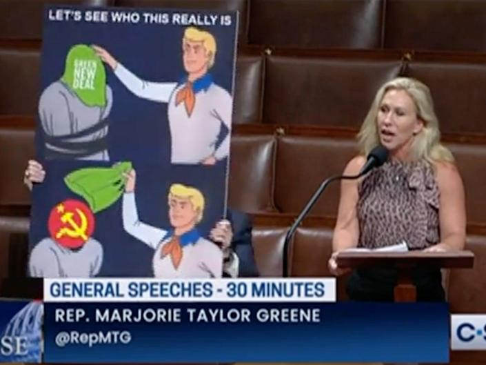 Marjorie Taylor Greene used a meme to claim that the Green New Deal is communism in disguise (C-SPAN)
