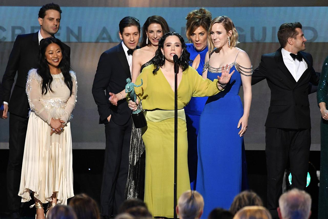 """Borstein was the first to take to the mic after her <a href=""""https://people.com/tv/sag-awards-2020-outstanding-performance-by-ensemble-cast-comedy-series-marvelous-mrs-maisel/""""><em>The Marvelous Mrs. Maisel</em> cast won outstanding performance by an ensemble in a comedy series</a> to say, """"I voted for <em>Fleabag</em>!""""  """"I don't know what to say. I'm going to take this home and make sweet love to it under my Spanx hole,"""" she hilariously continued, before adding, """"This makes no sense, <em>Fleabag</em>is brilliant.""""  Costar Rachel Brosnahan mimicked Borstein's sentiment, saying she was """"very surprised"""" by the win before dedicating the award to <a href=""""https://people.com/tv/brian-tarantina-cause-death-drug-overdose-accidental/"""">Brian Tarantina</a>, who died in November.  """"Thank you guys,"""" Brosnahan concluded. """"This is a mistake, but thank you."""""""