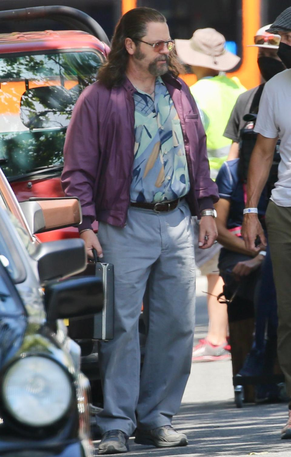 <p>Nick Offerman is seen on the set of <em>Pam & Tommy</em> on Tuesday in L.A.</p>