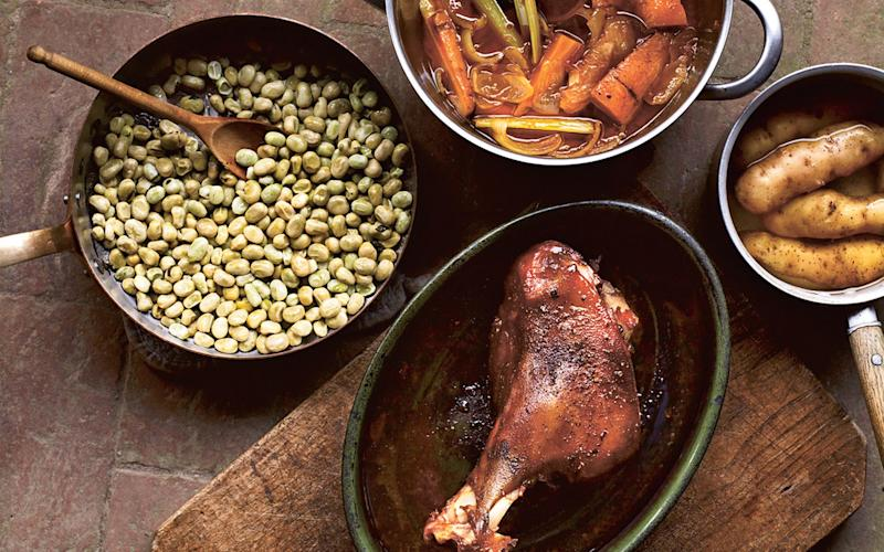 Roast leg of lamb with broad beans - Credit: Andrew Montomgery