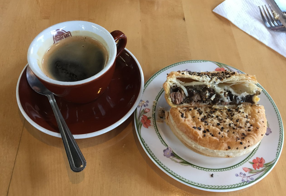 Photo of a pie and coffee from the Springfield cafe in New Zealand.