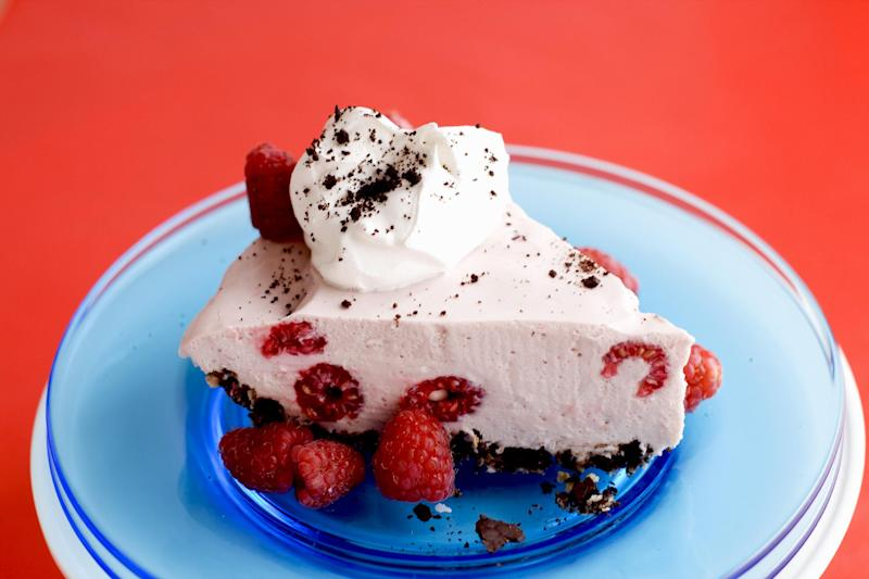 In this image taken on May 27, 2013, raspberry coconut ice box pie is shown served on a plate in Concord, N.H. (AP Photo/Matthew Mead)
