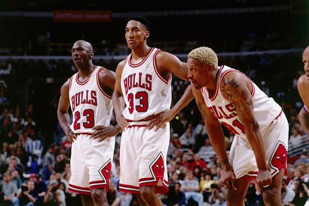 "<p>A year after winning 72 games, the Bulls remained thoroughly dominant, threatening to repeat that feat before losing three of their last four games. Michael Jordan led the league in scoring, Dennis Rodman led in rebounding and Scottie Pippen did a little of everything along with Toni Kukoc off the bench. The playoffs were a breeze until the Finals, when Jordan's ""Flu Game"" helped Chicago put away the Jazz and win their second of three straight championships. </p>"