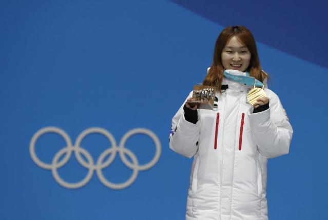 Medals Ceremony - Short Track Speed Skating Events - Pyeongchang 2018 Winter Olympics - Women's 1500m - Medals Plaza - Pyeongchang, South Korea - February 18, 2018 - Gold medalist Choi Min-jeong of South Korea on the podium. REUTERS/Eric Gaillard