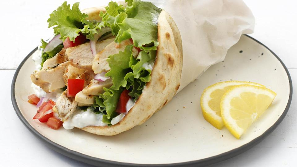 """<p>Gyros are one of those <a href=""""https://www.thedailymeal.com/travel/iconic-dishes-around-the-world-recipes?referrer=yahoo&category=beauty_food&include_utm=1&utm_medium=referral&utm_source=yahoo&utm_campaign=feed"""" rel=""""nofollow noopener"""" target=""""_blank"""" data-ylk=""""slk:iconic dishes from around the world that you can make at home"""" class=""""link rapid-noclick-resp"""">iconic dishes from around the world that you can make at home</a>. You'll whip up these grilled chicken gyros in less than 30 minutes and add new dimensions to your everyday grilled chicken.</p> <p><a href=""""https://www.thedailymeal.com/best-recipes/grilled-chicken-gyros-easy?referrer=yahoo&category=beauty_food&include_utm=1&utm_medium=referral&utm_source=yahoo&utm_campaign=feed"""" rel=""""nofollow noopener"""" target=""""_blank"""" data-ylk=""""slk:For the Grilled Chicken Gyros recipe, click here."""" class=""""link rapid-noclick-resp"""">For the Grilled Chicken Gyros recipe, click here.</a></p>"""