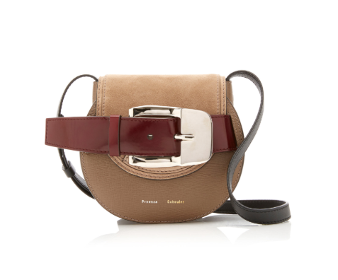 Proenza Schouler Buckled Textured-Leather And Suede Bag