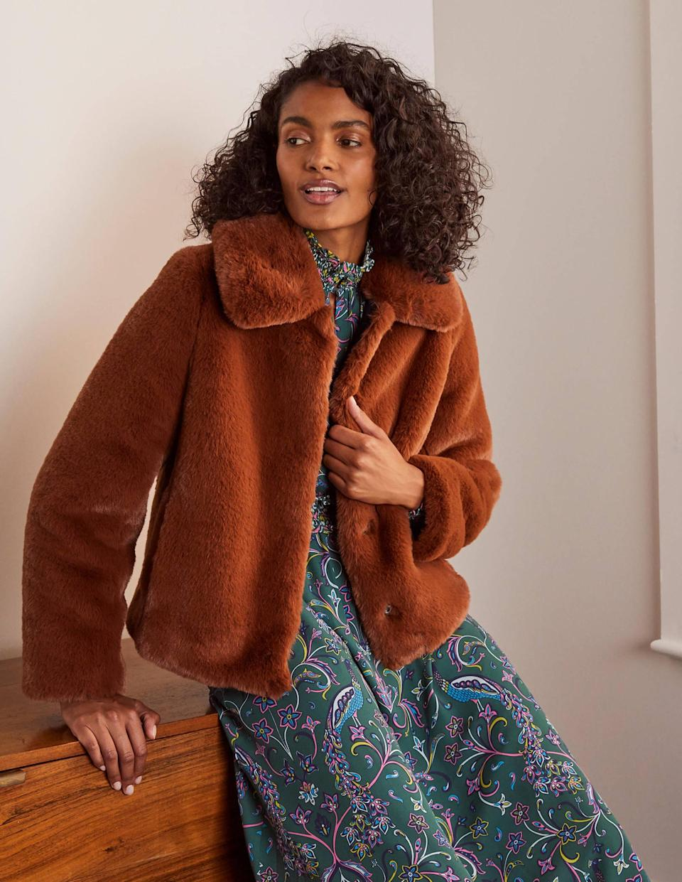 Elsted Faux Fur Jacket. (Boden)