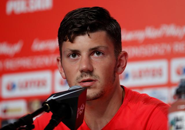 Soccer Football - World Cup - Poland Press Conference - Poland Training Camp, Sochi, Russia - June 21, 2018 Poland's Dawid Kownacki during the press conference REUTERS/Francois Lenoir