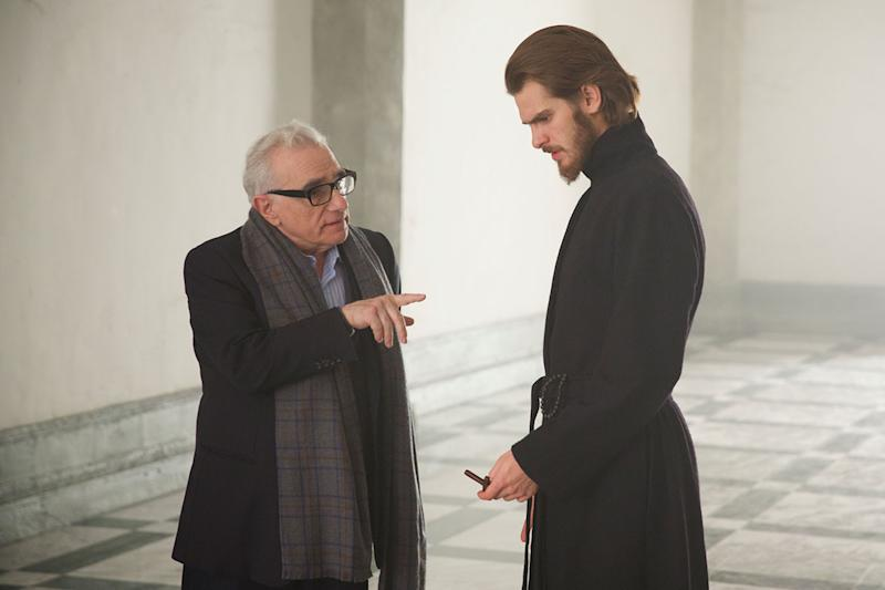 Scorsese and Andrew Garfield on the set of 'Silence' (Credit: Studiocanal)