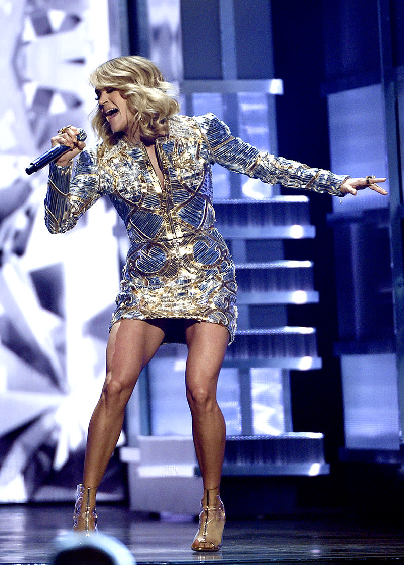 """<p>Underwood, 34, is the third-youngest artist (and only American Idol contestant) on this list. Her top seller is her 2005 debut, Some Hearts (8 million). The album spawned two of Underwood's biggest hits, """"Before He Cheats"""" (5 million) and """"Jesus, Take the Wheel"""" (3 million). (Photo: Chris Pizzello/Invision/AP) </p>"""