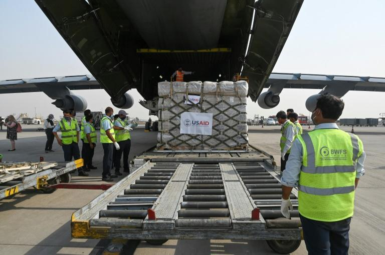 A US military transporter carrying more than 400 oxygen cylinders, other hospital equipment and nearly one million rapid coronavirus tests arrived in New Delhi Friday