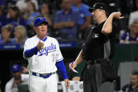 Kansas City Royals manager Ned Yost (3) is ejected by home plate umpire Lance Barrett during the eighth inning of the team's baseball game against the Houston Astros at Kauffman Stadium in Kansas City, Mo., Friday, Sept. 13, 2019. (AP Photo/Orlin Wagner)