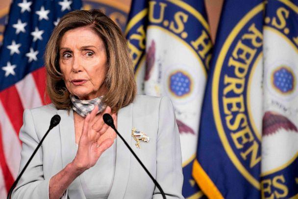 PHOTO: Speaker of the House, Nancy Pelosi holds her weekly press briefing on Capitol Hill in Washington, on Aug. 13, 2020. (Jim Watson/AFP via Getty Images)