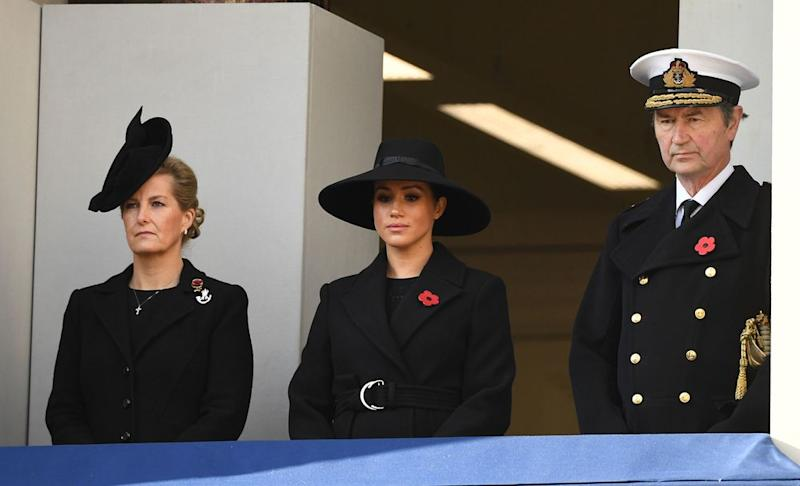 Sophie, Countess of Wessex, Meghan Markle and Vice Admiral Sir Timothy Laurence  | Kirsty O'Connor/PA Images via Getty Images