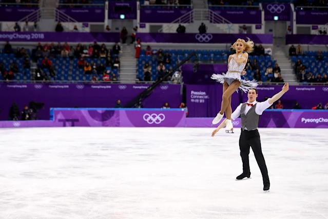 Aljona Savchenko and Bruno Massot of Germany compete during the Pair Skating Short Program on day five of the PyeongChang 2018 Winter Olympics at Gangneung Ice Arena on Feb. 14, 2018.