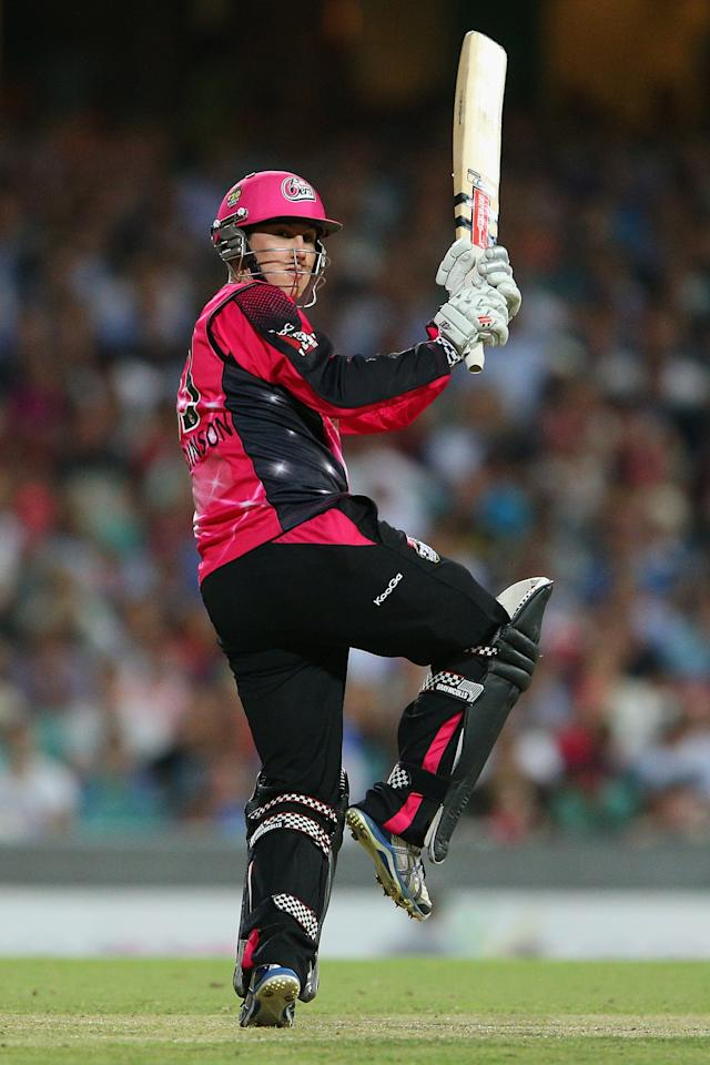 SYDNEY, AUSTRALIA - JANUARY 09: Nic Maddinson of the Sixers bats during the Big Bash League match between the Sydney Sixers and the Melbourne Renegades at SCG on January 9, 2013 in Sydney, Australia.  (Photo by Cameron Spencer/Getty Images)
