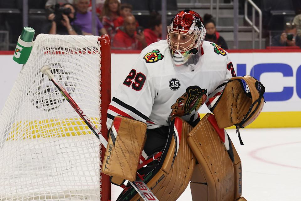 DETROIT, MICHIGAN - OCTOBER 04: Marc-Andre Fleury #29 of the Chicago Blackhawks plays against the Detroit Red Wings during a preseason game at Little Caesars Arena on October 04, 2021 in Detroit, Michigan. (Photo by Gregory Shamus/Getty Images)
