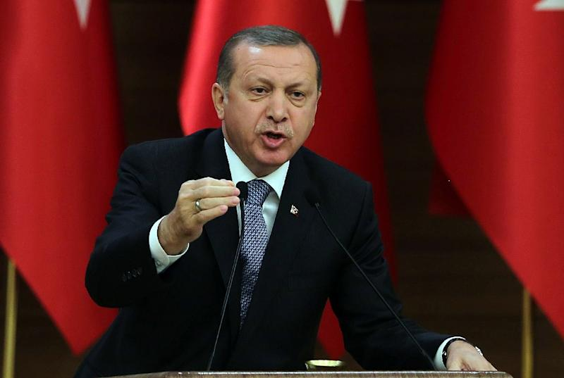 """Turkish President Recep Tayyip Erdogan derided the Constitutional Court and said the """"issue is not remotely linked freedom of expression"""" (AFP Photo/Adem Altan)"""
