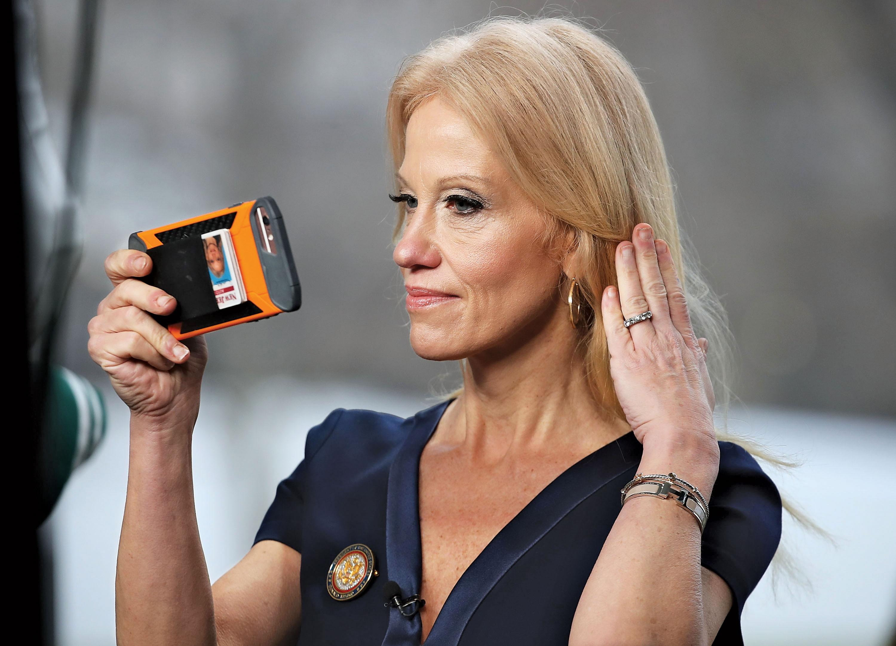 Taxpayers are paying for a full-time makeup artist and hairstylist to make sure Kellyanne Conway is camera-ready. (Photo: Getty)