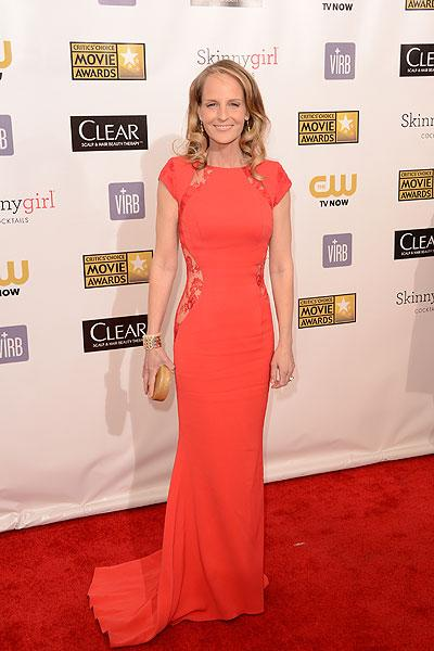 Helent Hunt: We love Helen Hunt! Not only is she an incredible actress but she has flawless style. The 'The Sessions' actress wears a redish orange dress by British designer Philip Armstrong. The bright colour complements the elegant look with a twist: Lace cutours on the hips ups the sex appeal. (Photo by Jason Merritt/Getty Images)