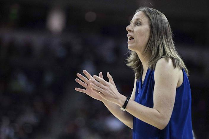 New USC women's basketball coach Lindsay Gottlieb relays instructions from the sideline.