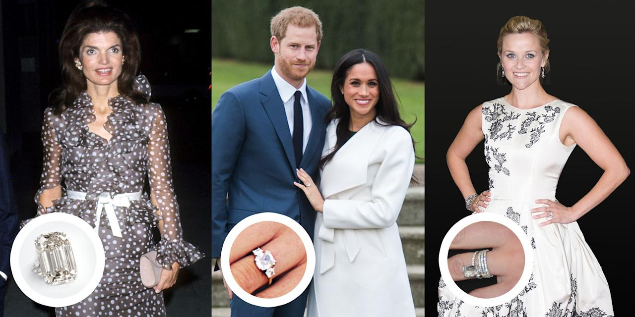 """<p>From Elizabeth Taylor's iconic rock to <a rel=""""nofollow"""" href=""""http://www.townandcountrymag.com/style/jewelry-and-watches/a14538399/paris-hilton-chris-zylka-engagement-ring-worth-cost-details/"""">Paris Hilton's jaw-dropping engagement bling,</a> celebrities have given us a lifetime supply of <a rel=""""nofollow"""" href=""""http://www.townandcountrymag.com/style/jewelry-and-watches/g10000044/famous-engagement-rings-from-old-hollywood/"""">ring inspiration.</a> No matter the stone type (we've got sapphire, emeralds, and canary yellow diamonds ahead) to the carat size (including a 40+ carat stone), there's a dazzling celebrity engagement sparkler for every sense of style. Here are <a rel=""""nofollow"""" href=""""http://www.townandcountrymag.com/style/jewelry-and-watches/g13060157/famous-royal-engagement-rings/"""">the most gorgeous</a> rings of all time as seen on our favorite celebrities, royals, and boldface names. </p>"""