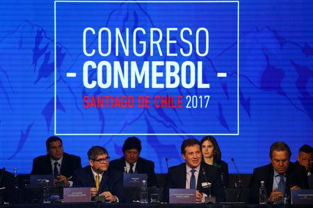 CONMEBOL President Alejandro Dominguez delivers a speech at the 67th Ordinary CONMEBOL Congress in Santiago,