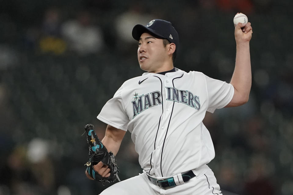 Seattle Mariners starting pitcher Yusei Kikuchi throws against the Detroit Tigers during the sixth inning of a baseball game, Monday, May 17, 2021, in Seattle. (AP Photo/Ted S. Warren)