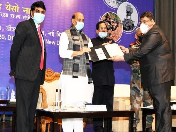 DRDO Scientist Amit Sharma (far right) receives Agni award from Defence Minister Rajnath Singh on Friday in New Delhi [Photo/ANI]