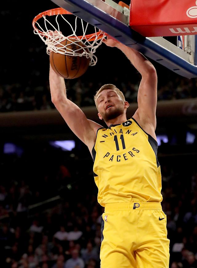 NEW YORK, NEW YORK - JANUARY 11: Domantas Sabonis #11 of the Indiana Pacers dunks in the first half against the New York Knicks at Madison Square Garden on January 11, 2019 in New York City.(Photo by Elsa/Getty Images)