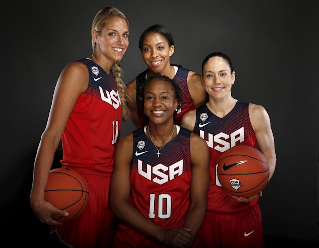 Women's basketball team members Elena Delle Donne (L-R), Tamika Catchings, Candace Parker, and Sue Bird pose for a portrait at the U.S. Olympic Committee Media Summit in Beverly Hills, Los Angeles, California March 9, 2016. REUTERS/Lucy Nicholson