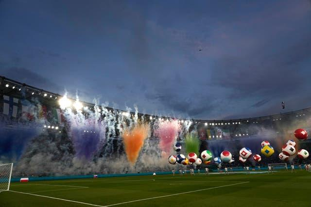 A spectacular opening ceremony was watched by a quarter-full stadium of 16,000 spectators at the Olympic Stadium in Rome