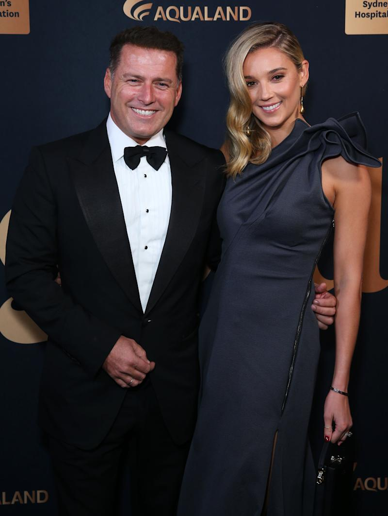 Karl Stefanovic and Jasmine Stefanovic attend the annual Gold Dinner at Fox Studios on May 30, 2019 in Sydney, Australia.