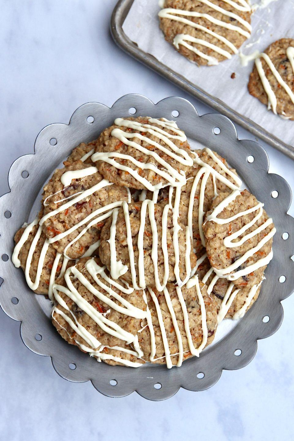 "<p>These cookies taste just like a heavenly slice of carrot cake! They're perfect to spread out with the rest of your Easter treats.</p><p><strong>Get the recipe at <a href=""https://thebakermama.com/recipes/carrot-cake-cookies/"" rel=""nofollow noopener"" target=""_blank"" data-ylk=""slk:The Baker Mama"" class=""link rapid-noclick-resp"">The Baker Mama</a>.</strong></p><p><strong><a class=""link rapid-noclick-resp"" href=""https://go.redirectingat.com?id=74968X1596630&url=https%3A%2F%2Fwww.walmart.com%2Fsearch%2F%3Fquery%3Dbaking%2Bmats&sref=https%3A%2F%2Fwww.thepioneerwoman.com%2Ffood-cooking%2Fmeals-menus%2Fg35408493%2Feaster-desserts%2F"" rel=""nofollow noopener"" target=""_blank"" data-ylk=""slk:SHOP BAKING MATS"">SHOP BAKING MATS</a><br></strong></p>"