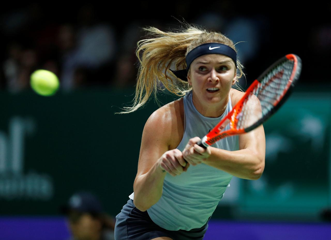 Tennis - WTA Tour Finals - Singapore Indoor Stadium, Singapore - October 23, 2017   Ukraine's Elina Svitolina in action during her group stage match with Denmark's Caroline Wozniacki   REUTERS/Edgar Su