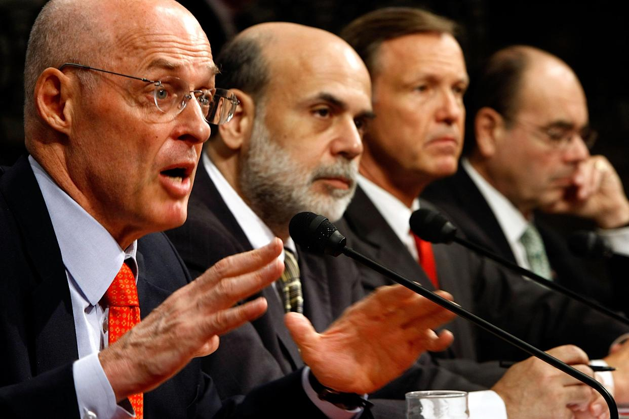 From left: Treasury Secretary Henry Paulson, Federal Reserve Board Chairman Ben Bernanke, Securities and Exchange Commission Chairman Christopher Cox and Federal Housing Finance Agency Director James Lockhart III testify during a hearing before the Senate Banking, Housing and Urban Affairs Committee on Sept. 23, 2008. The Bush administration officials were testifying about a proposed $700 billion bailout they hoped would stabilize the faltering U.S. financial system. (Photo: Chip Somodevilla/Getty Images)