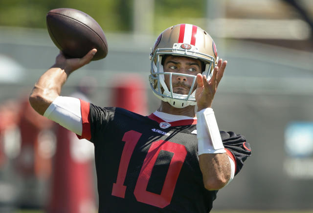 San Francisco 49ers quarterback Jimmy Garoppolo said he won't have any restrictions when the team begins training camp later this month. (AP)