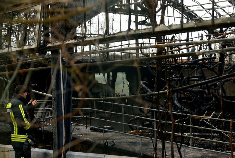 A firefighter inspects a burned monkey house in the zoo of Krefeld