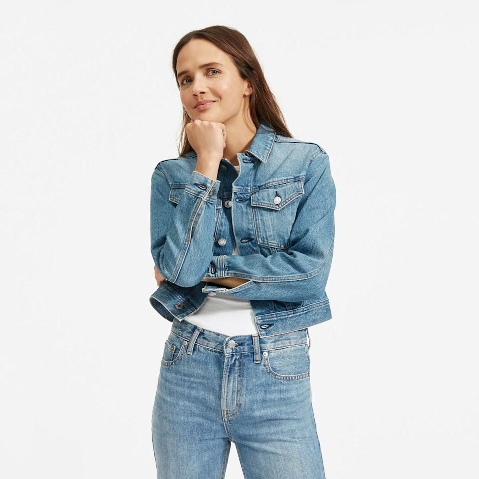 "Made from rigid denim that actually <em>feels</em> like denim, this wardrobe staple is the finishing touch to your best casual outfits. Throw the shrunken jacket over high-rise jeans and your <a href=""https://www.glamour.com/gallery/the-perfect-white-t-shirt-according-to-glamour-editors?mbid=synd_yahoo_rss"" target=""_blank"">favorite white tee</a>. $78, Everlane. <a href=""https://www.everlane.com/products/womens-shrunken-denim-jacket-lightbluewash?collection=womens-outerwear"">Get it now!</a>"