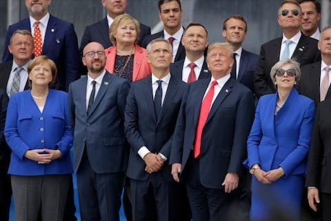Angela Merkel, Charles Michel, Jens Stoltenberg, Donald Trump and Minister Theresa May watcha helicopter fly-by at the Nato summit - Credit: AP Photo/Markus Schreiber)