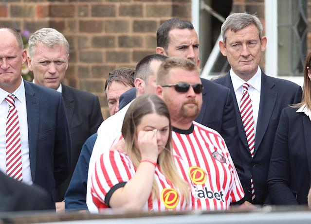 <p>David Moyes (second left) and Ellis Short (right) outside St Joseph's Church in Blackhall, County Durham. where the funeral of Bradley Lowery, the six-year-old football mascot whose cancer battle captured hearts around the world, took place. </p>