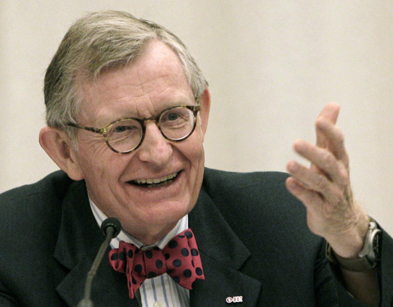 FILE - In this June 7, 2013, file photo, former Ohio State University president Gordon Gee gives his retirement speech during a board of trustees meeting in Columbus, Ohio. West Virginia University President Gordon Gee and former Ohio Gov. John Kasich are creating a nonprofit that will fight to steer money from any national opioid settlement to hospitals and health-based research. Gee and Kasich will announce Citizens for Effective Opioid Treatment on Thursday, Aug. 22, 2019. (AP Photo/Jay LaPrete, File)