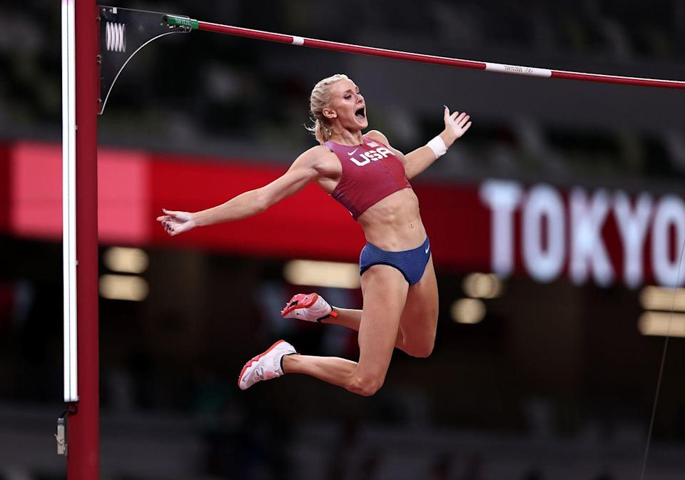 <p>Katie Nageotte of Team USA celebrates after clearing 4.90 meters in the women's pole vault final</p>