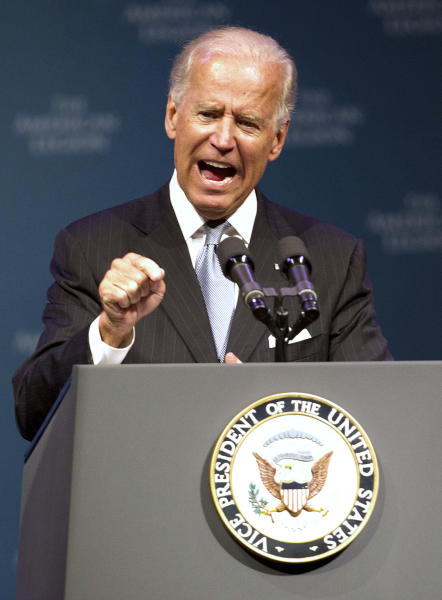 Vice President Joe Biden speaks during The American Legion's annual convention at the George R. Brown Convention Center in Houston on Tuesday, Aug. 27, 2013. Biden says there is no doubt that Syrian President Bashar Assad's government is responsible for the heinous use of chemical weapons. Biden's comments make him the highest-ranking U.S. official to say the Syrian regime is the culprit in a large-scale chemical weapons attack on Aug. 21. (AP Photo/Houston Chronicle, Johnny Hanson) MANDATORY CREDIT